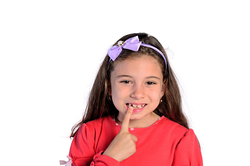 child girl pointing teeth